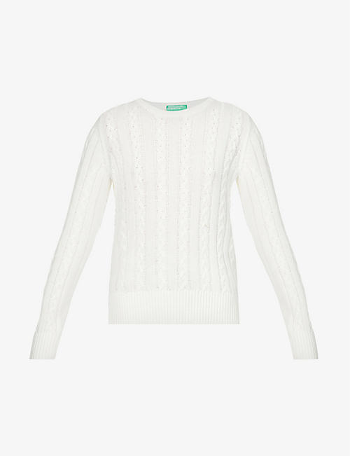 BENETTON: Round neck cotton-knit jumper