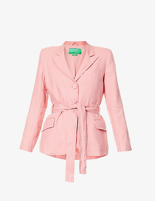 BENETTON: Tie-waist single-breasted linen blazer