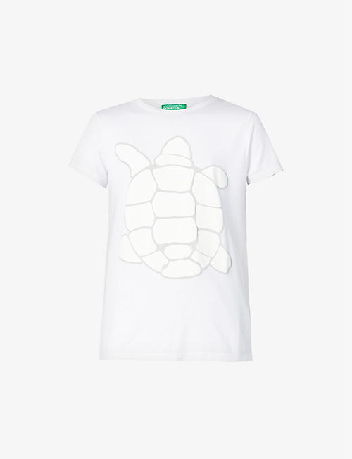 BENETTON: Graphic-print stretch-woven T-shirt