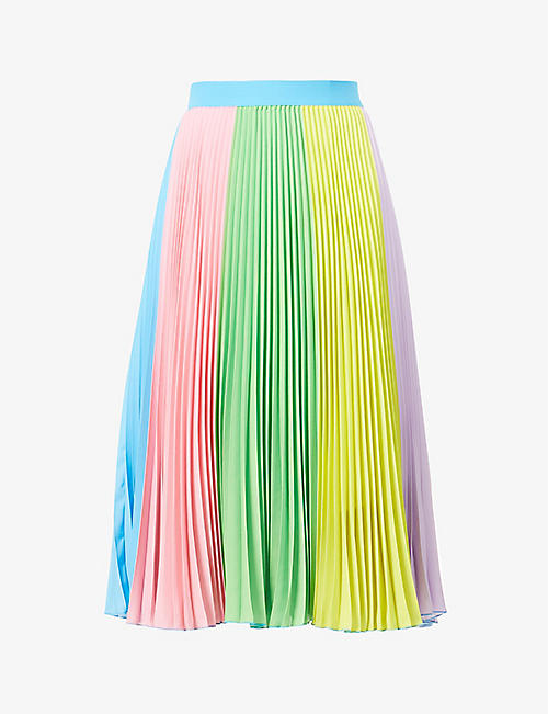 BENETTON: High-rise pleated cotton midi skirt