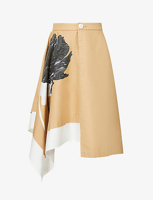BENETTON: Graphic-print A-line cotton midi skirt