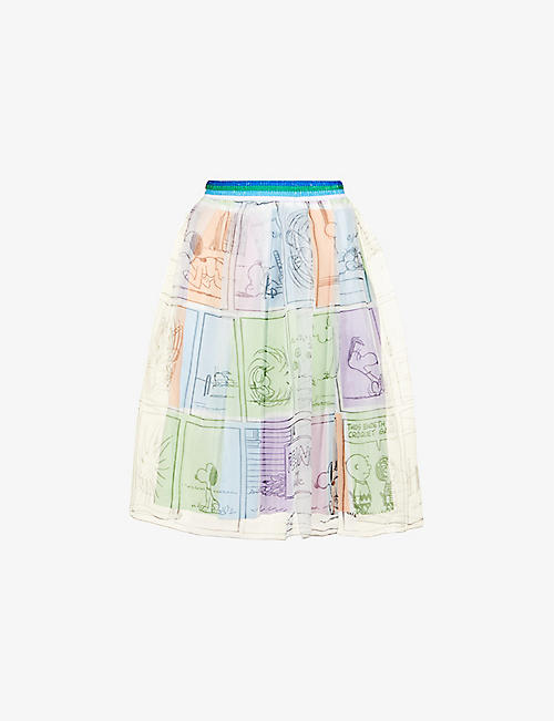 BENETTON: Graphic-print chiffon mini skirt