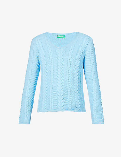 BENETTON: V-neck cotton-knit jumper