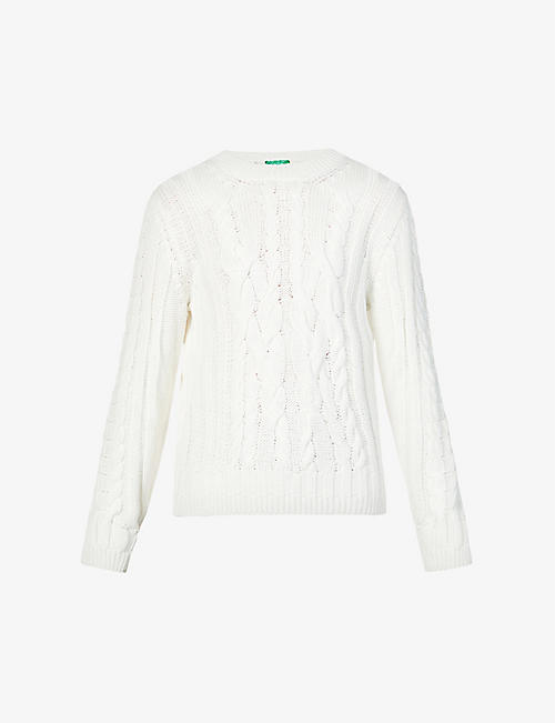 BENETTON: Round-neck cotton-knit jumper