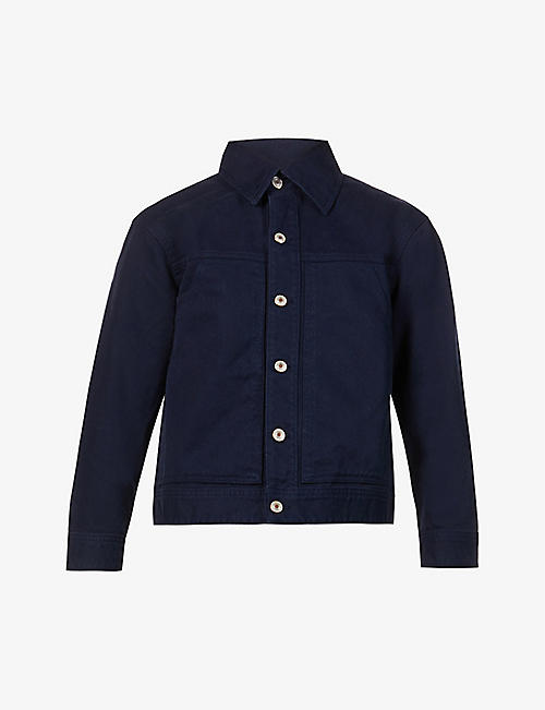 BENETTON: Button-up cropped cotton jacket