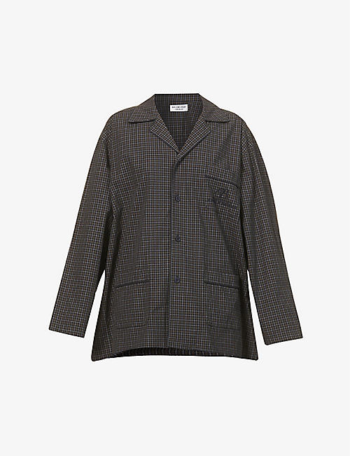BALENCIAGA: Checked logo-embroidered oversized cotton shirt