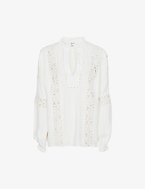 REISS: Dottie lace-detail woven blouse