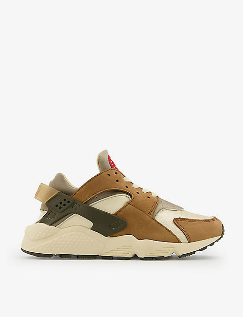 NIKE: Air Huarache suedette and woven mid-top trainers