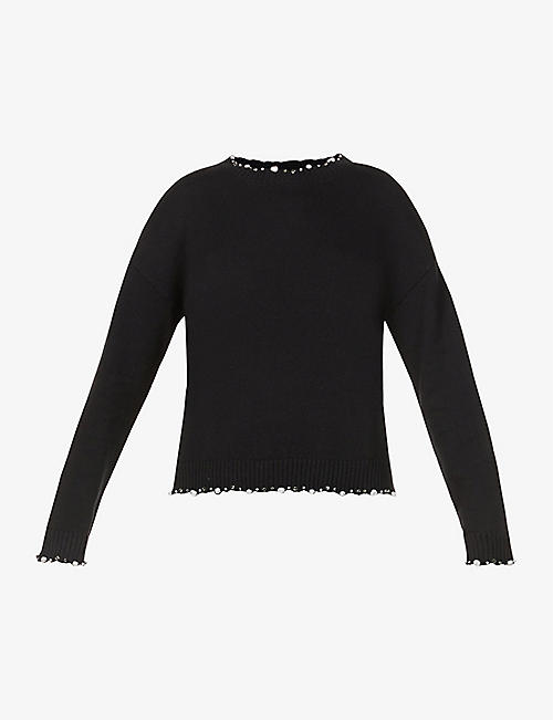 PINKO: Faux-pearl and gemstone -embellished cotton and cashmere-blend jumper