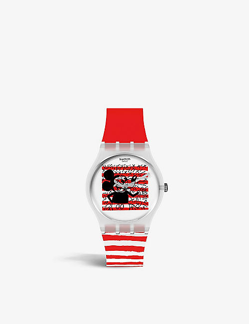 SWATCH: GZ352 Mouse Marinière silicone quartz watch