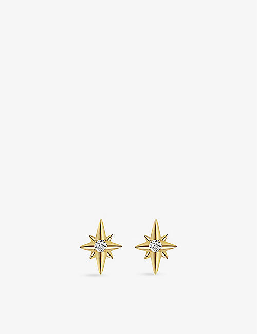 EDGE OF EMBER: North Star recycled 14ct yellow gold and 0.14ct diamond stud earrings