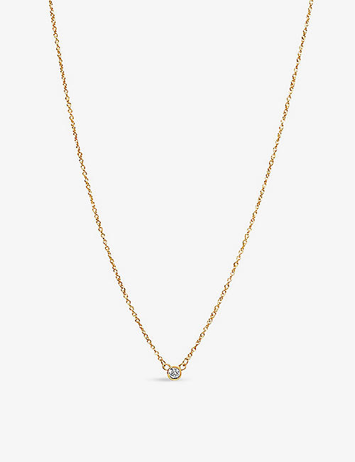 EDGE OF EMBER: Solitaire 14ct yellow-gold diamond necklace