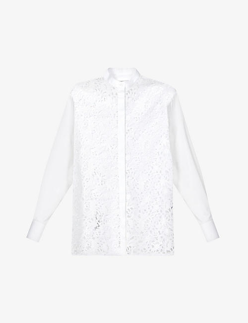 VALENTINO: Floral-macramé cotton-blend shirt