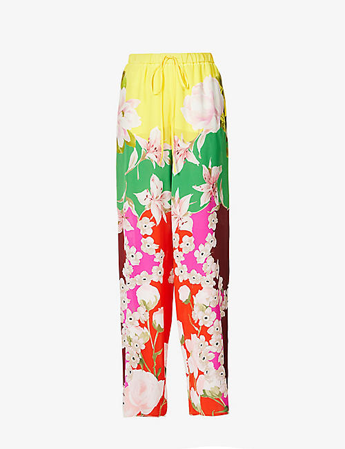 VALENTINO: Floral-print wide-leg high-rise silk trousers