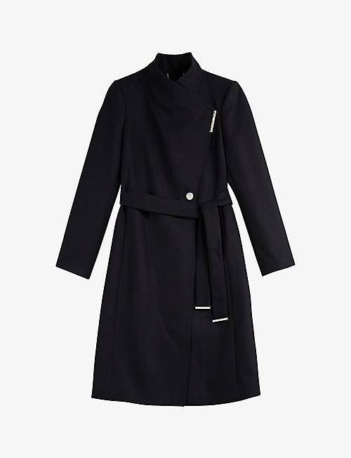 TED BAKER: Wool-blend midi-length wrap coat