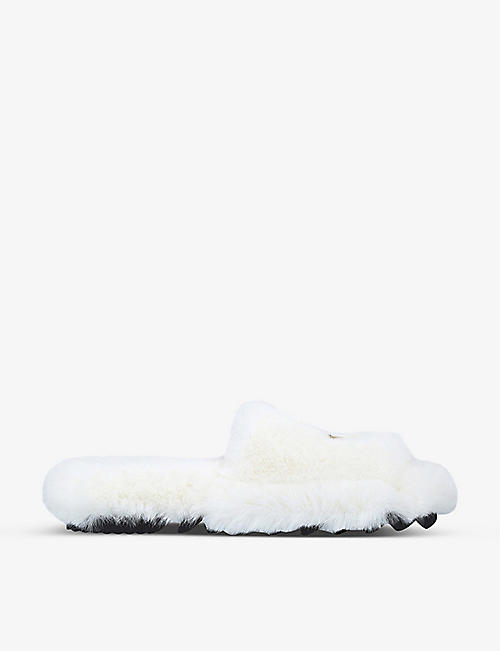 SACAI: Logo-embroidered faux-fur slippers
