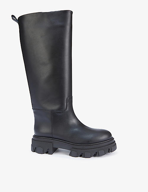 GIA COUTURE: Gia Couture x Pernille Teisbaek Tubular leather combat boots