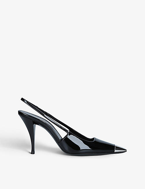 SAINT LAURENT: Blade 90 slingback patent leather heeled courts
