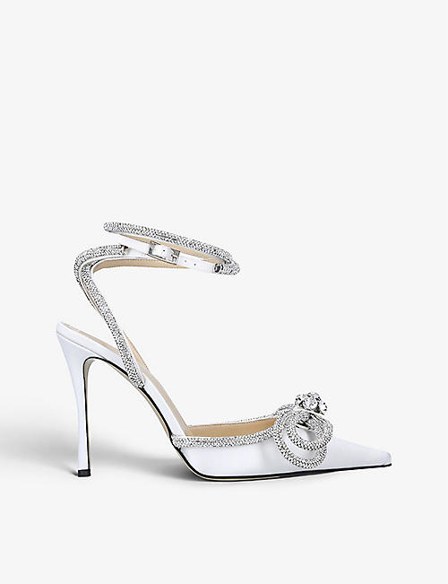 MACH & MACH: Double Bow crystal-embellished satin heeled sandals