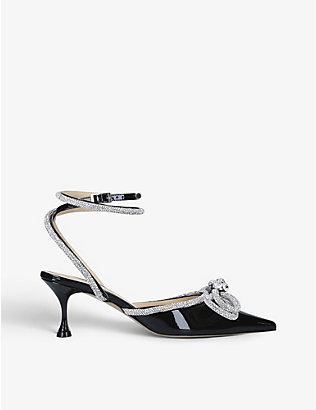 MACH & MACH: Lacquer crystal-embellished patent-leather kitten heels