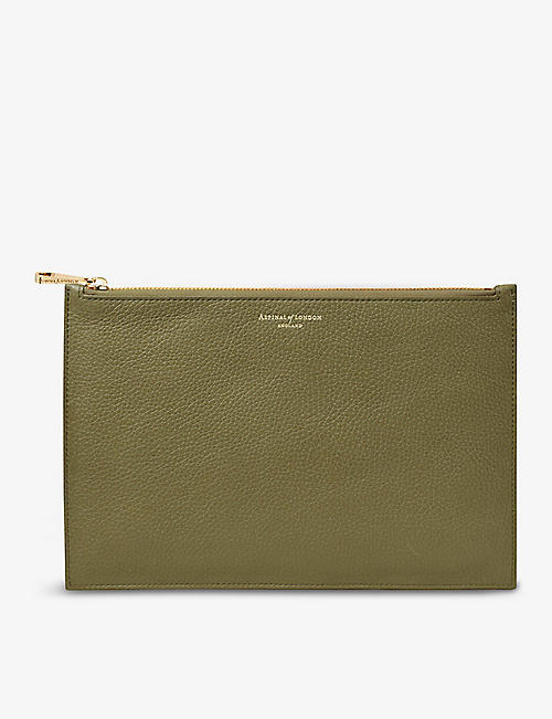 ASPINAL OF LONDON: Essential large grained-leather flat pouch