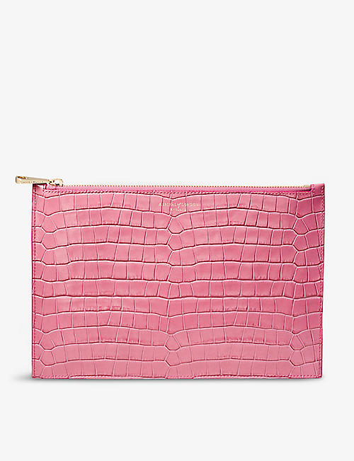 ASPINAL OF LONDON: Essential large croc-embossed leather flat pouch
