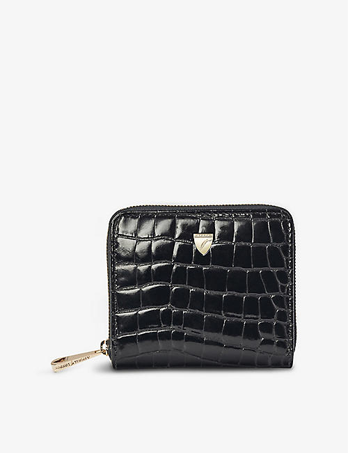 ASPINAL OF LONDON: Continental mini croc-embossed leather purse