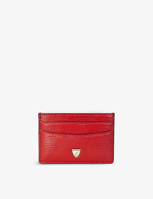 ASPINAL OF LONDON: Slim crocodile-embossed leather card holder