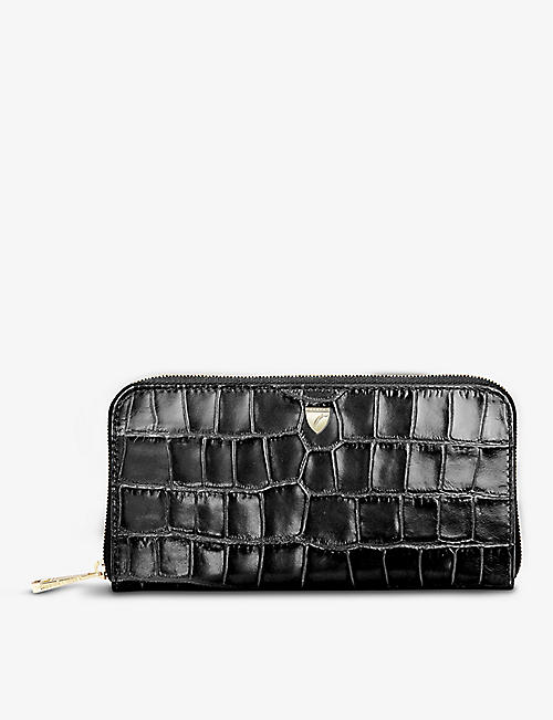 ASPINAL OF LONDON: Continental croc-embossed leather purse