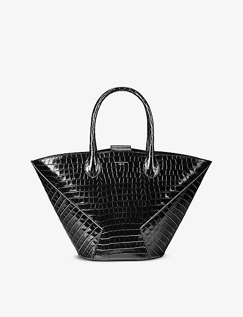 ASPINAL OF LONDON: Matilda small croc-embossed leather tote bag