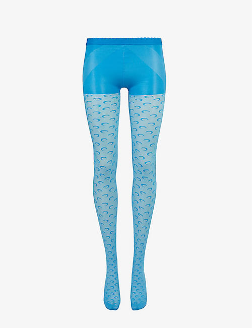 MARINE SERRE: Moon-print stretch-woven tights