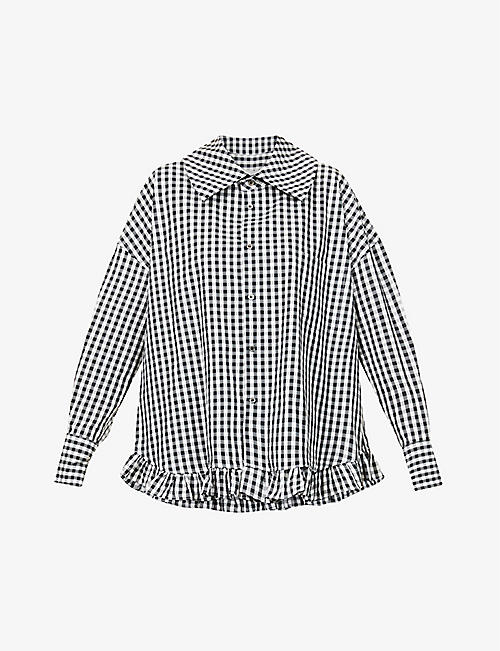 COMME DES GARCONS GIRL: Oversized gingham cotton-poplin shirt