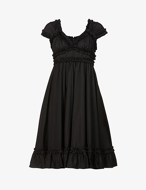 COMME DES GARCONS GIRL: Ruffle-trimmed cotton midi dress