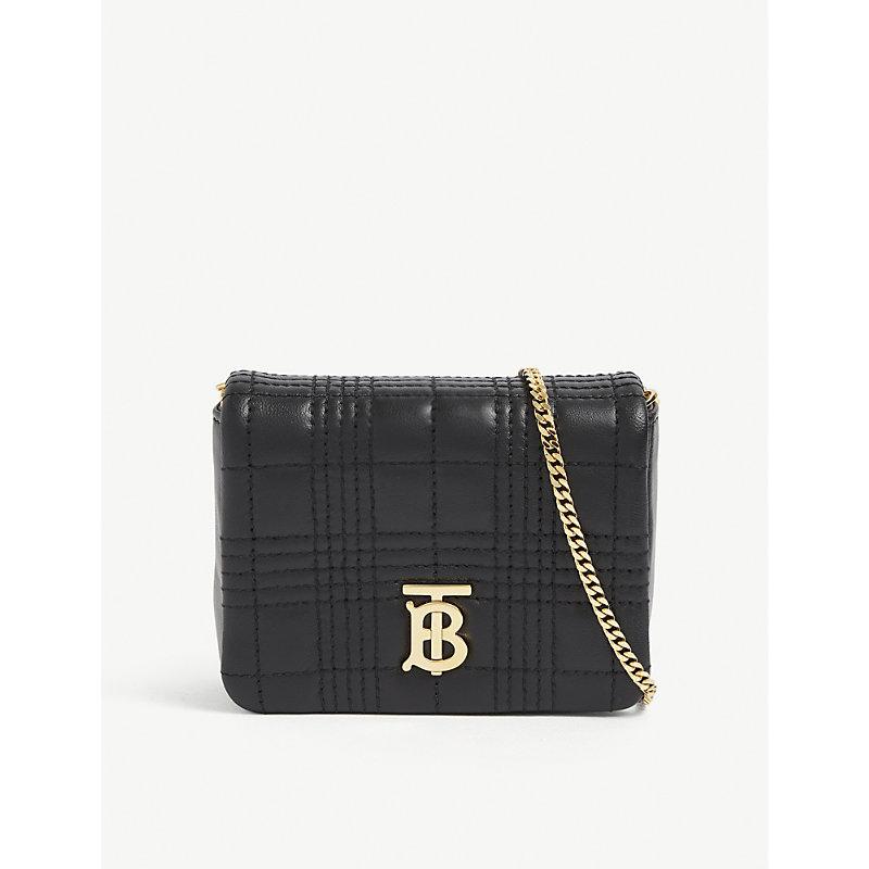 Burberry Lola Mini Leather Shoulder Bag In Black