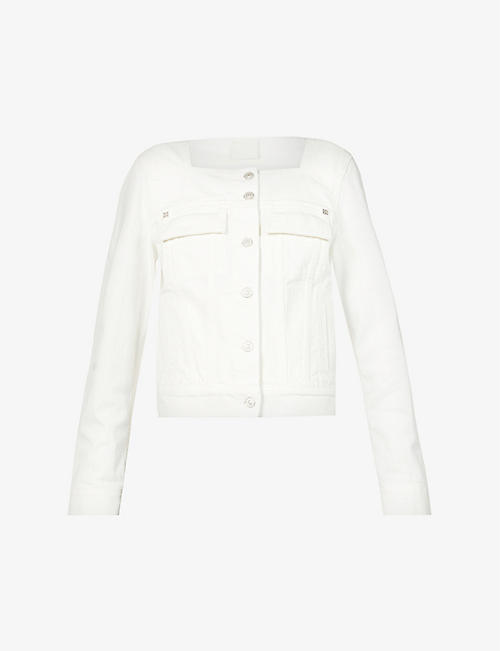 GIVENCHY: Square-neckline denim trucker jacket