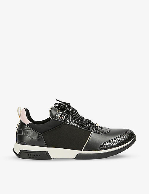 TED BAKER: Ceyaa leather and jersey trainers