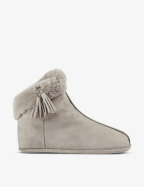 TED BAKER: Ashley faux-fur woven slipper boots