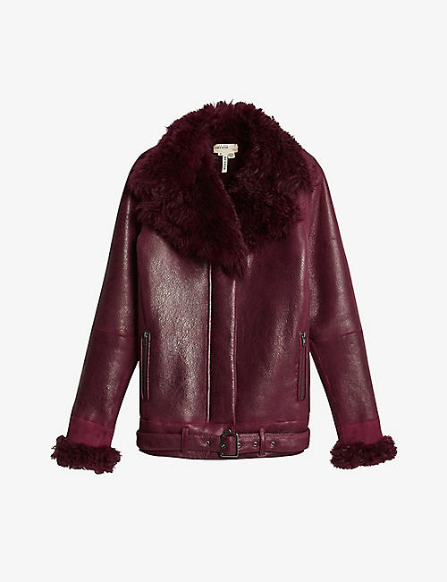 TED BAKER: Rihda leather aviator jacket