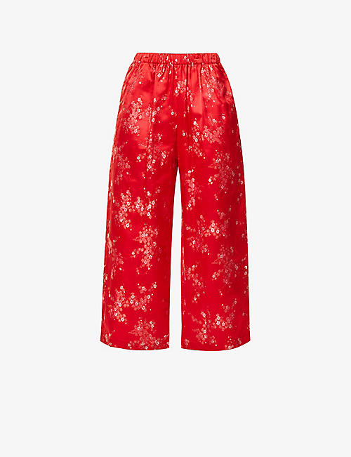COMME COMME DES GARCONS: Floral-embroidered wide-leg high-rise crepe trousers