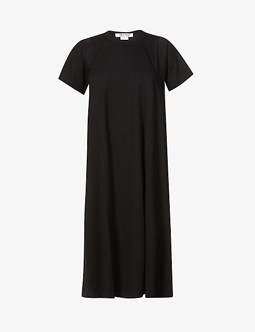 COMME COMME DES GARCONS: Round-neck cotton midi dress