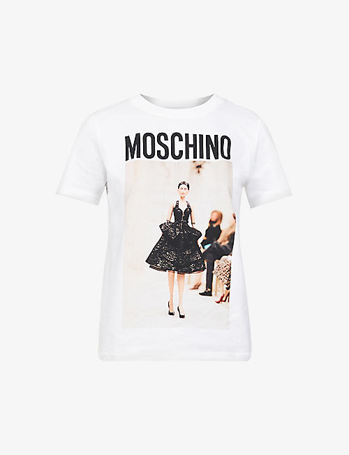 MOSCHINO: No Strings Attached graphic-print cotton-jersey T-shirt