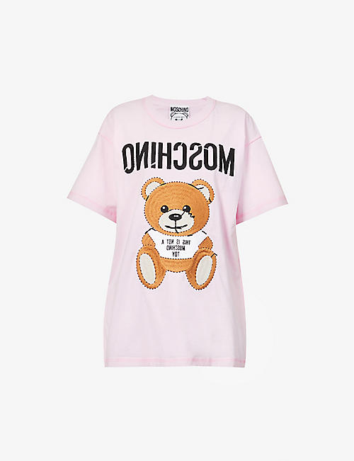 MOSCHINO: Bear-print cotton-jersey T-shirt