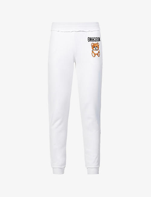 MOSCHINO: Teddy Bear-embroidered mid-rise cotton-jersey jogging bottoms
