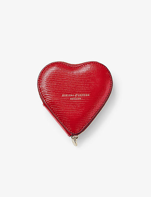 ASPINAL OF LONDON: Logo-embossed heart leather coin purse