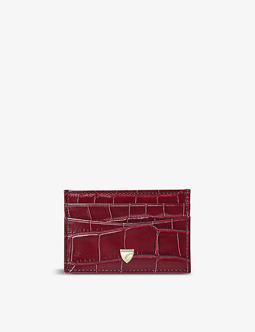 ASPINAL OF LONDON: Slim croc-embossed leather card holder