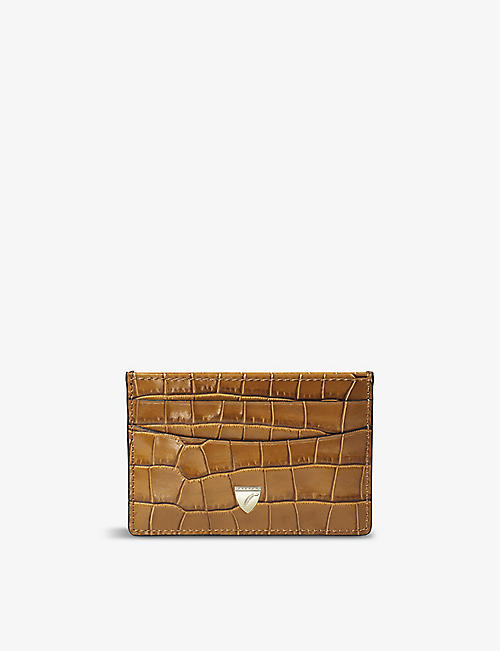 ASPINAL OF LONDON: Croc-embossed leather cardholder