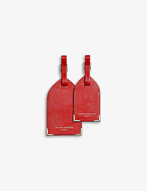 ASPINAL OF LONDON: Leather luggage tag set of two