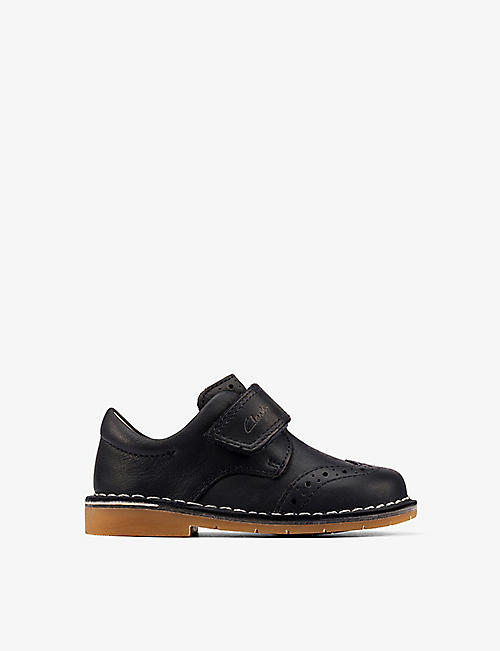 CLARKS: Comet Long logo-embossed leather brogues 0-23 months