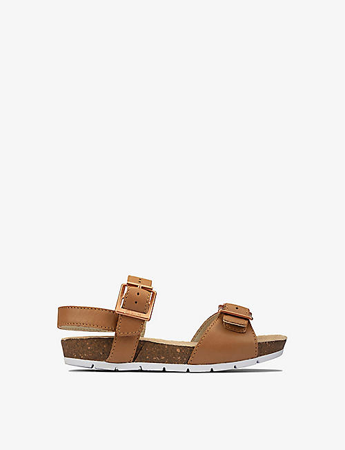 CLARKS: River Sand logo-embossed leather sandals 5-8 years