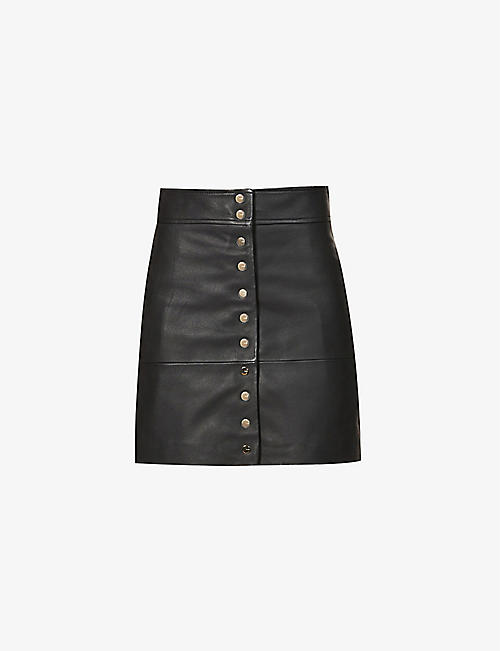 PINKO: Turbato button-up leather mini skirt